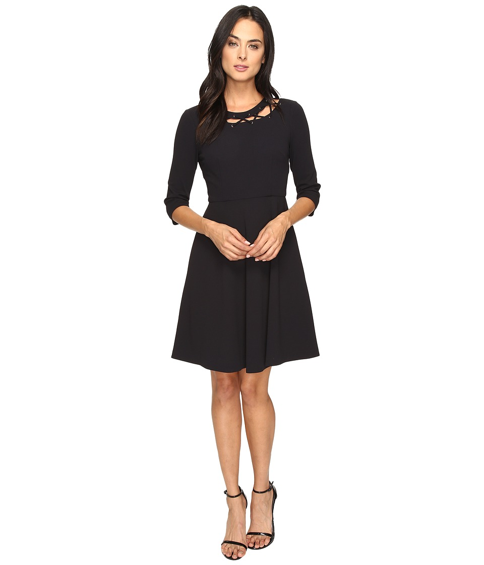 Donna Morgan - Pebble Crepe Shift Dress with Neck Lacing (Marine Navy) Women's Dress