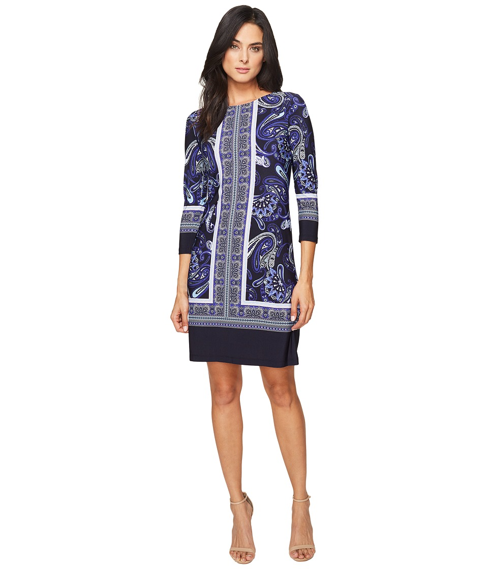Donna Morgan - 3/4 Sleeve Shift Dress (Marine Navy/Workwear Blue Multi) Women's Dress