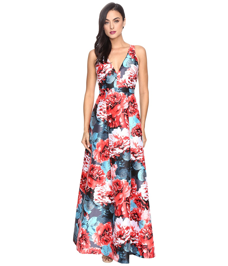 Adrianna Papell - Printed Jacquard Halter Deep V-Neck Ball Gown (Coral Multi) Women's Dress