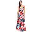 Printed Jacquard Halter Deep V-Neck Ball Gown