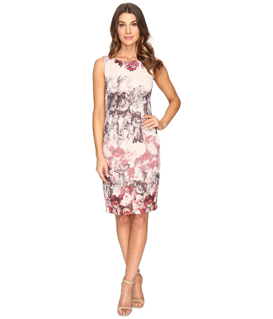 Adrianna Papell - Romantic Rose Border Print Sleeveless Sheath Dress (Shell Multi) Women's Dress