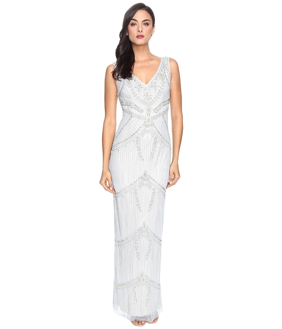 Adrianna Papell - Deep V-Neck Fully Beaded Column Gown (Blue Heather/Nude) Women's Dress