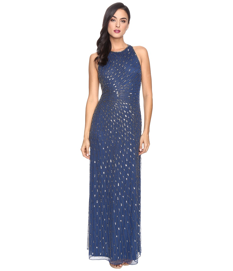 Adrianna Papell - Strappy Halter Gown with Radiating Beading (Twilight/Mercury) Women's Dress