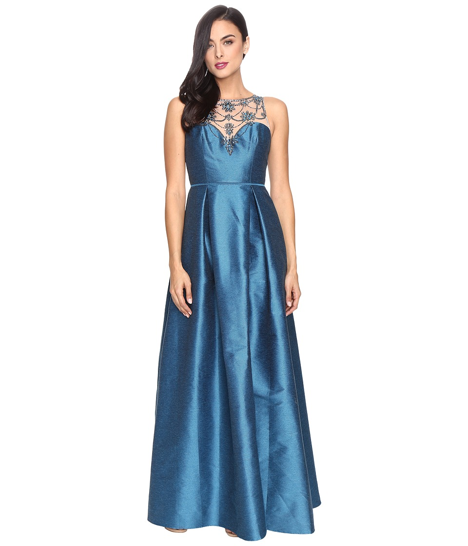 Adrianna Papell Casablanca Halter Beaded Bodice Ball Gown with Front Slit Teal Crush Dress