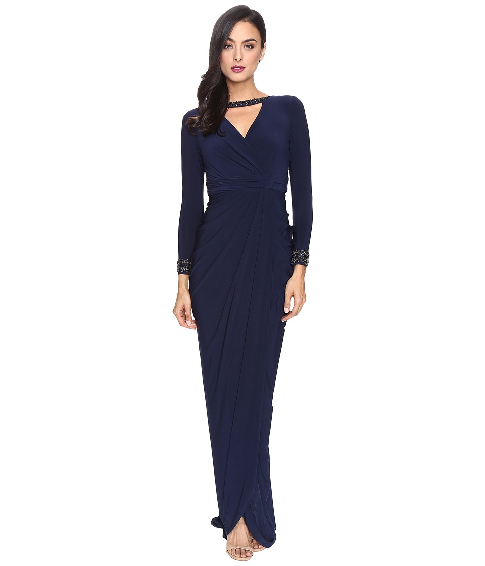 Adrianna Papell - Long Sleeve Deep V-Neck Wrap Front Jersey Dress with Wrap Skirt (Midnight) Women's Dress