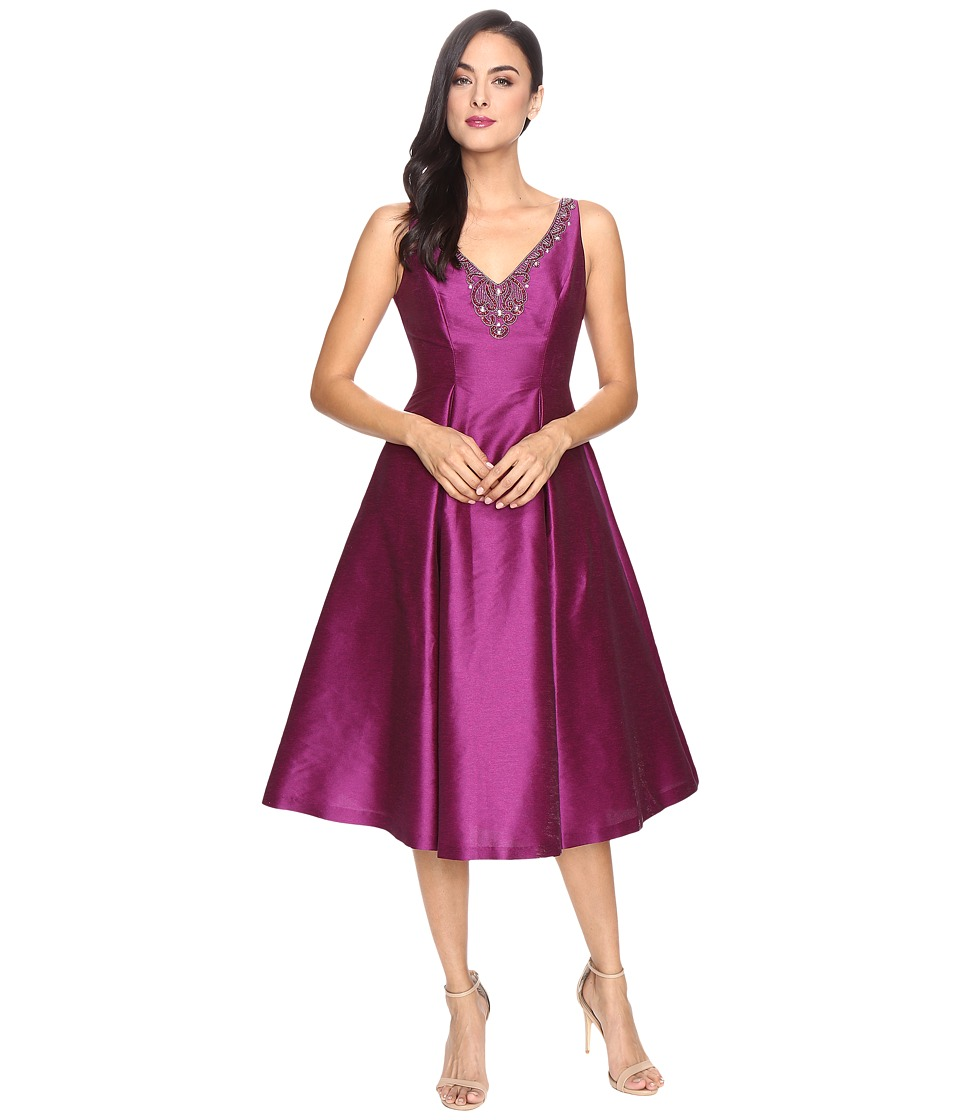 Adrianna Papell Casablanca Sleeveless Ball Skirt Dress with Beaded Neckline (Wineberry) Women