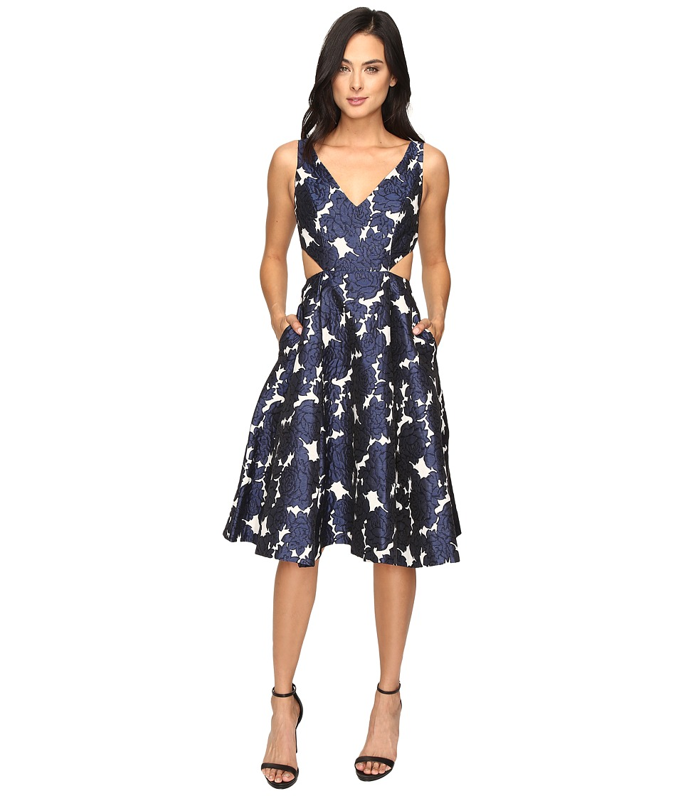 Adrianna Papell - Jacquard Sleeveless Deep V-Neck Ball Skirt Dress (Navy/Ivory) Women's Dress