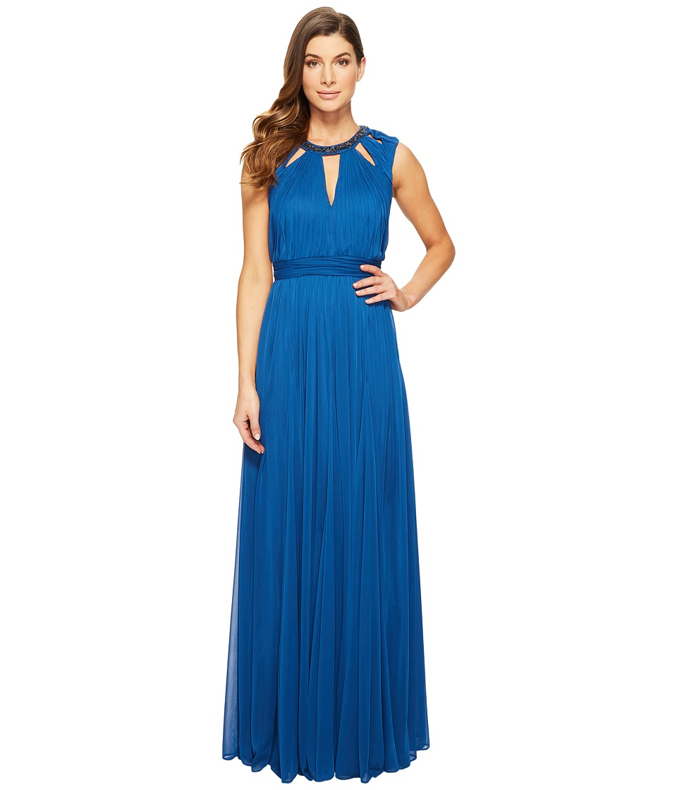 Adrianna Papell - Shirred Stretch Tulle Dress with Beaded Necklace Bodice Cut Outs (Sapphire) Women's Dress