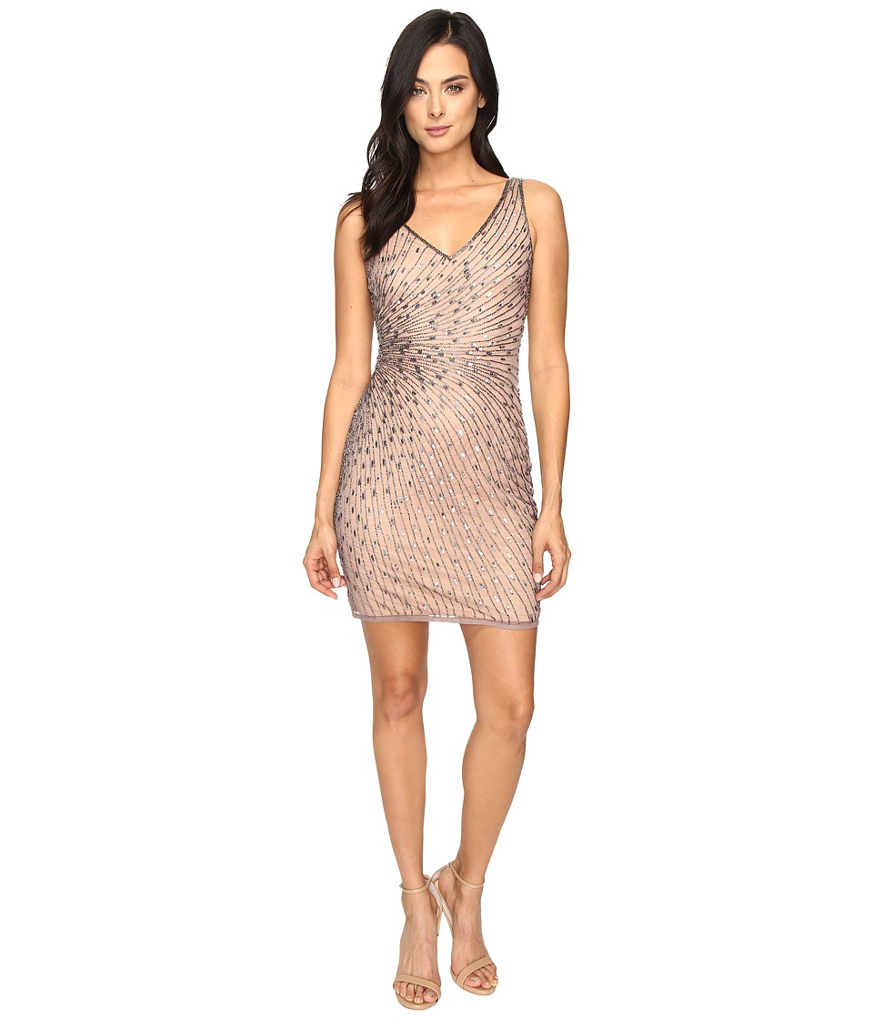 Adrianna Papell - Sleeveless Beaded Cocktail Dress (Stone Nude) Women's Dress
