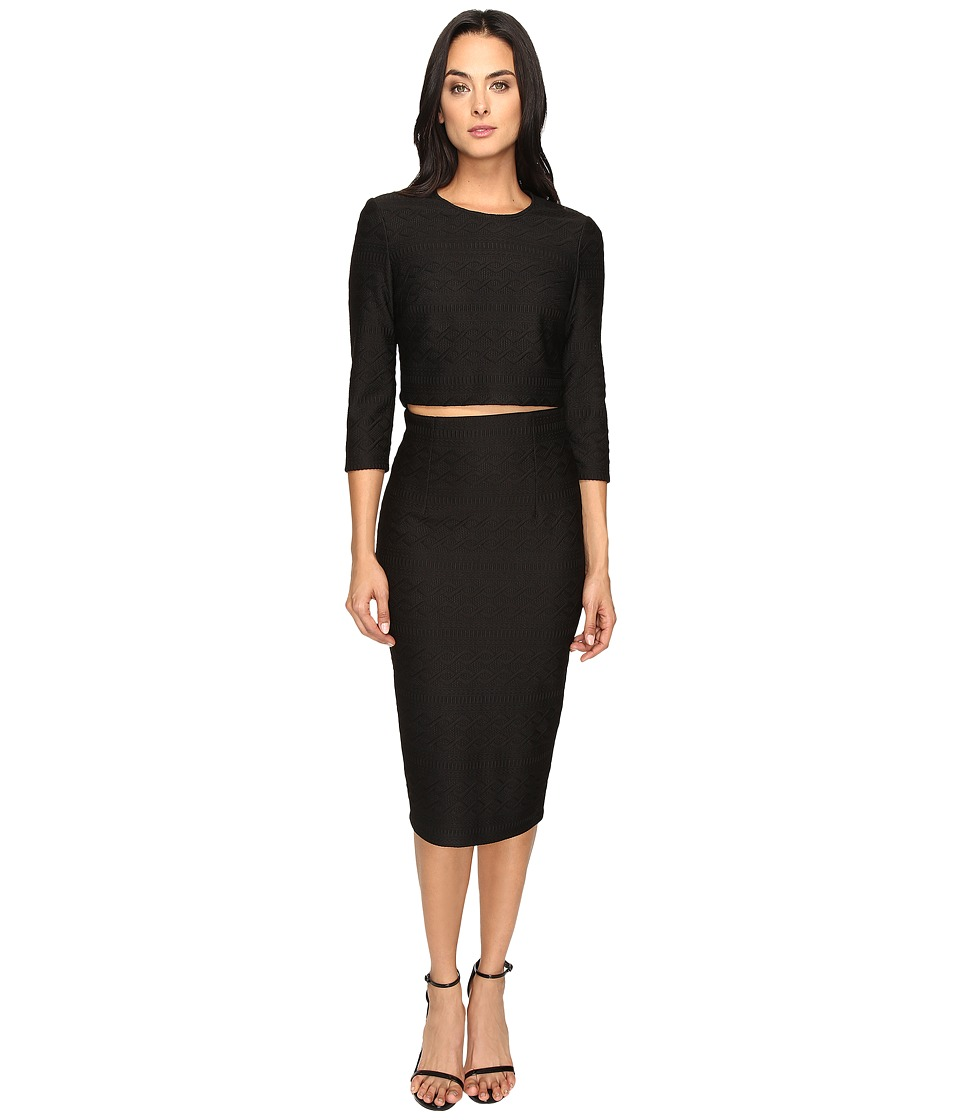 Donna Morgan - Knit Jacquard Two-Piece (Black) Women's Dress