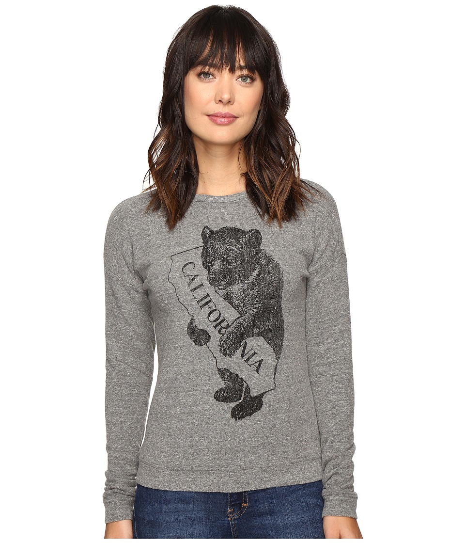 The Original Retro Brand California Bear/Map Superfuzzy Sweatshirt (Heather Grey) Women
