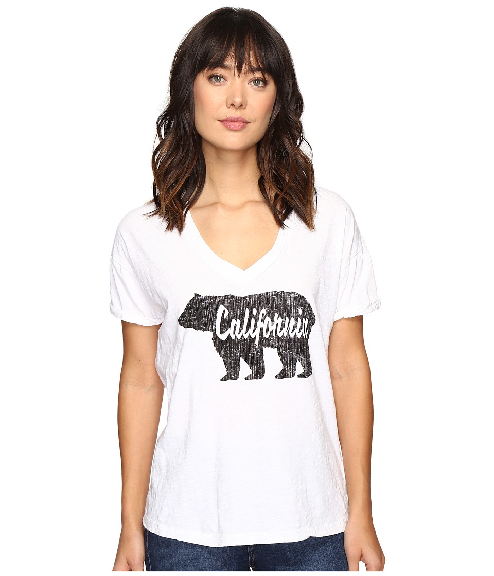 The Original Retro Brand - Cali Bear Oversized V-Neck Tee (White) Women's T Shirt