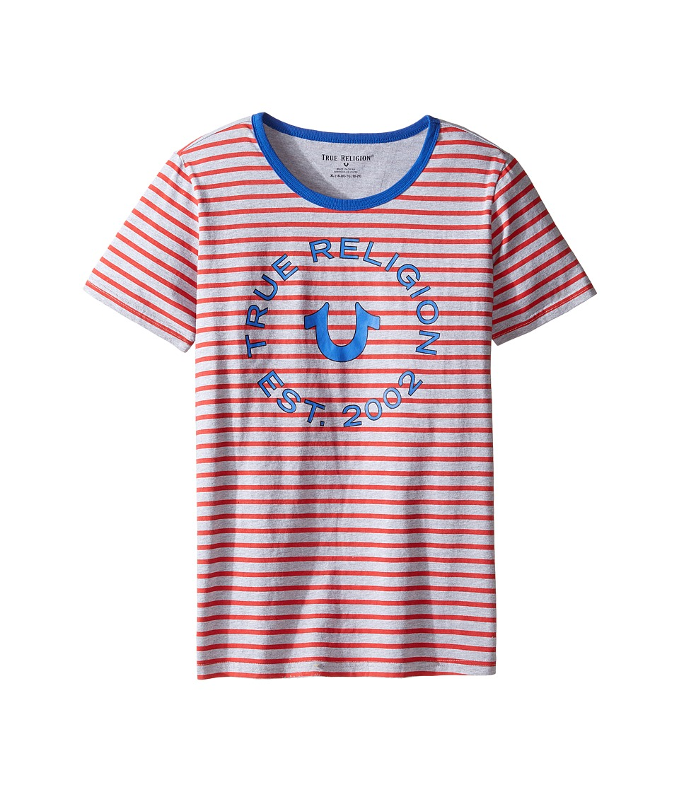 True Religion Kids - Heather Jersey Stripe Tee (Big Kids) (Bright Red) Boy's T Shirt