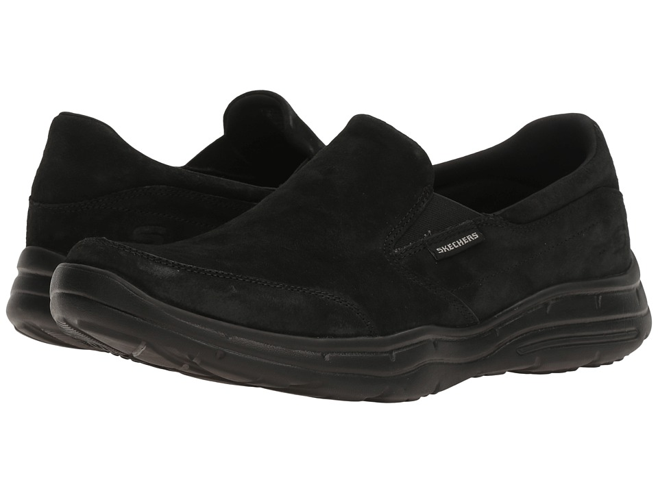 SKECHERS Relaxed Fit Glides Molti (Black Nubuck) Men