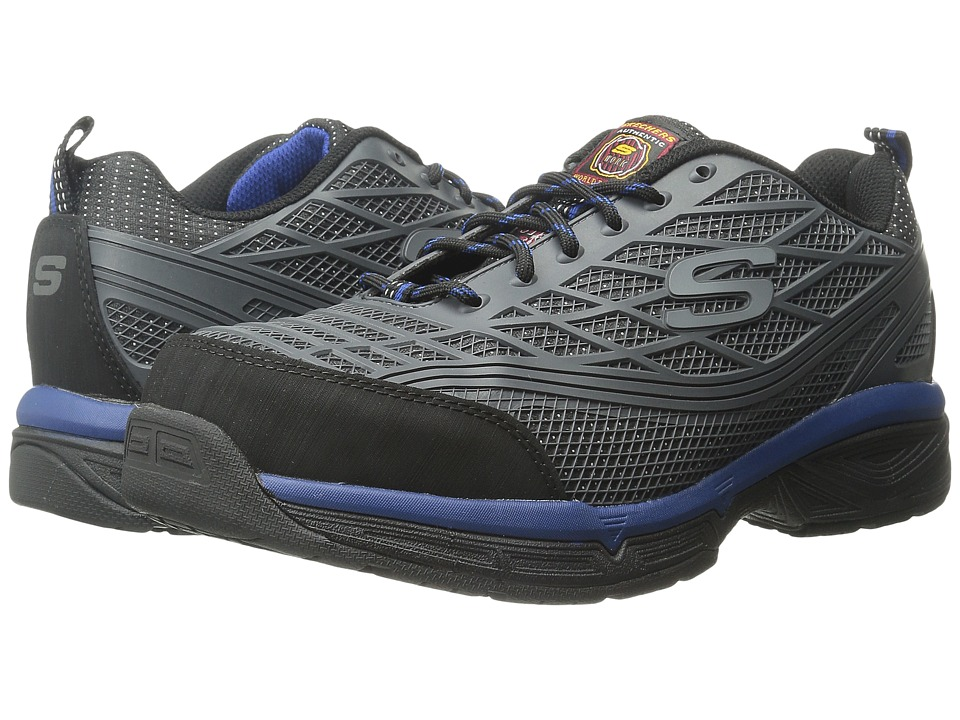 SKECHERS Work - Dunmor (Charcoal Oiled Suede/Blue Trim) Men's Shoes