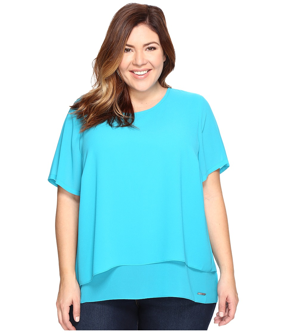 MICHAEL Michael Kors - Plus Size Back Cut Out Short Sleeve Top (Dark Peacock) Women's Clothing