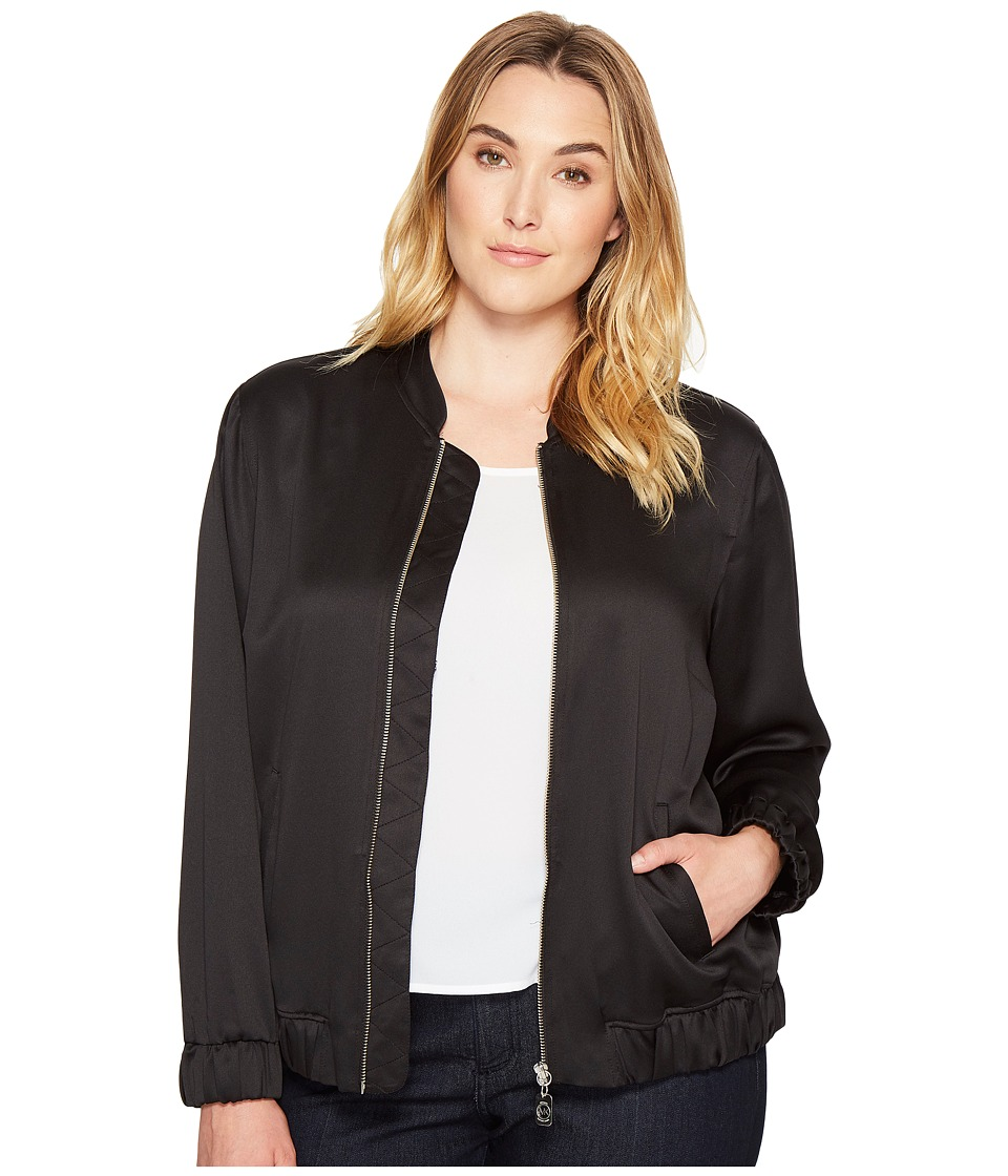 MICHAEL Michael Kors - Plus Size Bomber Jacket (Black) Women's Coat