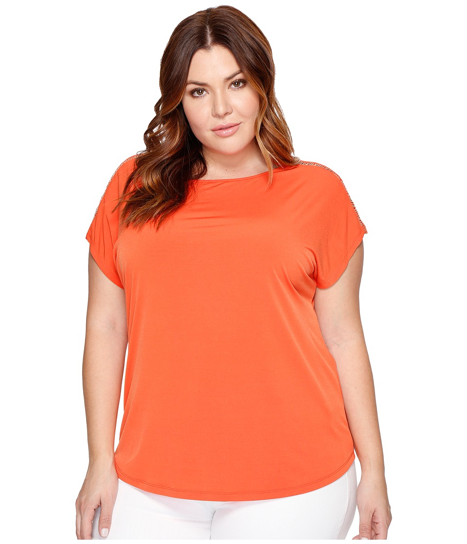 MICHAEL Michael Kors Plus Size Metal Ball Chain Short Sleeve Tee (Mandarin) Women