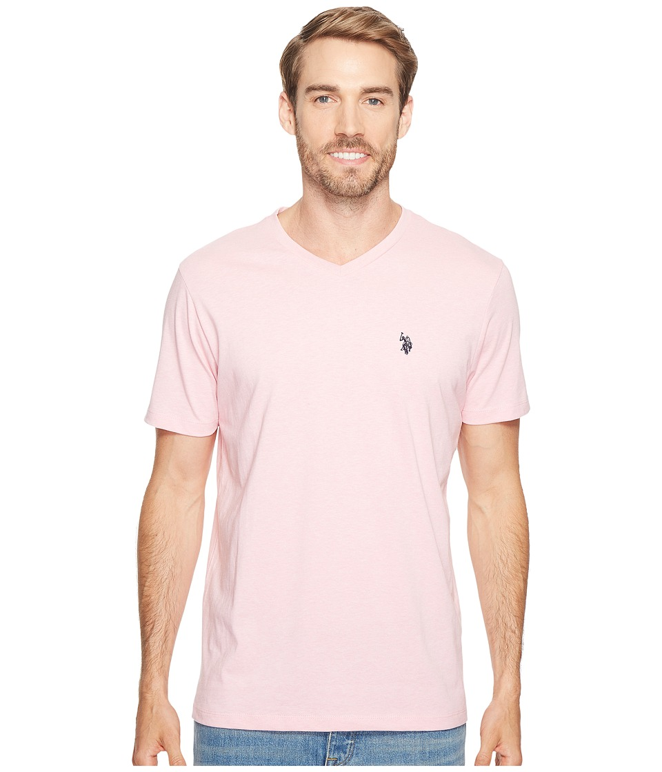 U.S. POLO ASSN. - Short Sleeve Solid V-Neck T-Shirt (Pink Sunset Heather) Men's Short Sleeve Pullover
