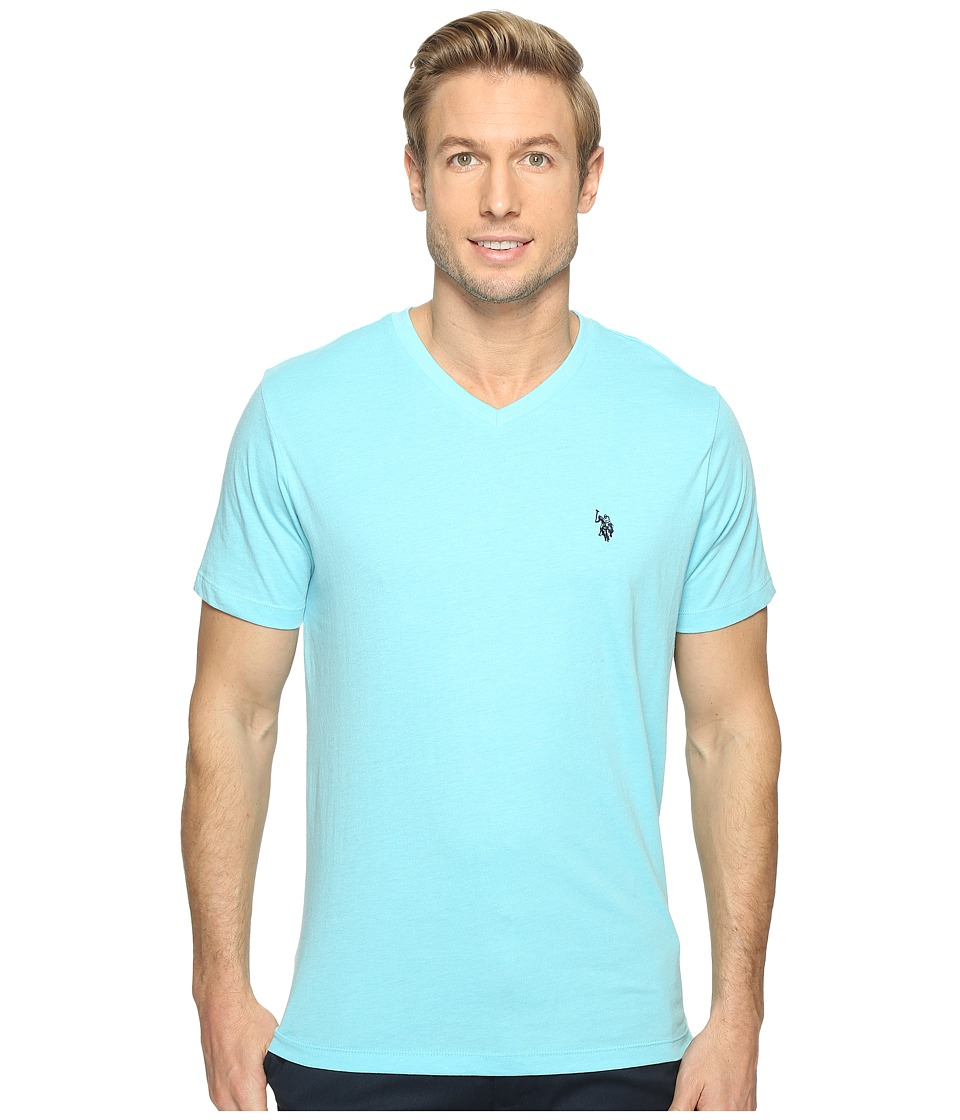 U.S. POLO ASSN. - Short Sleeve Solid V-Neck T-Shirt (Artist Aqua Heather) Men's Short Sleeve Pullover