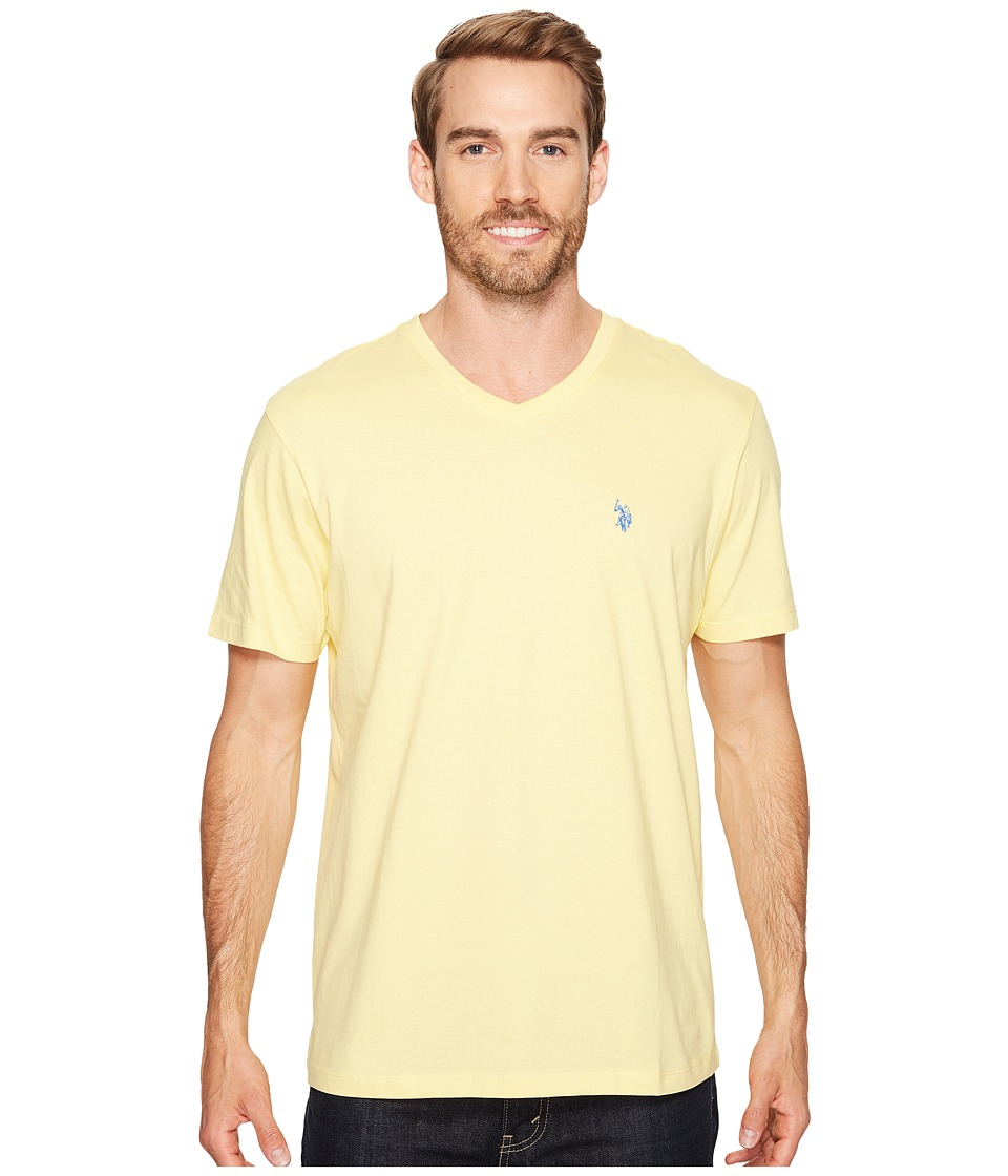 U.S. POLO ASSN. - Short Sleeve Solid V-Neck T-Shirt (Lemon Frost) Men's Short Sleeve Pullover