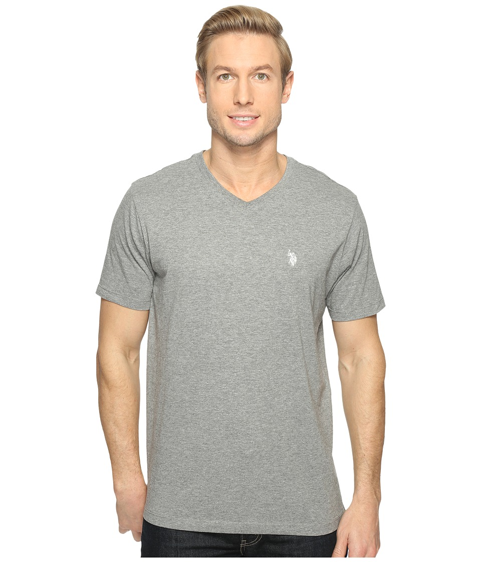 U.S. POLO ASSN. - Short Sleeve Solid V-Neck T-Shirt (Campus Heather Grey) Men's Short Sleeve Pullover