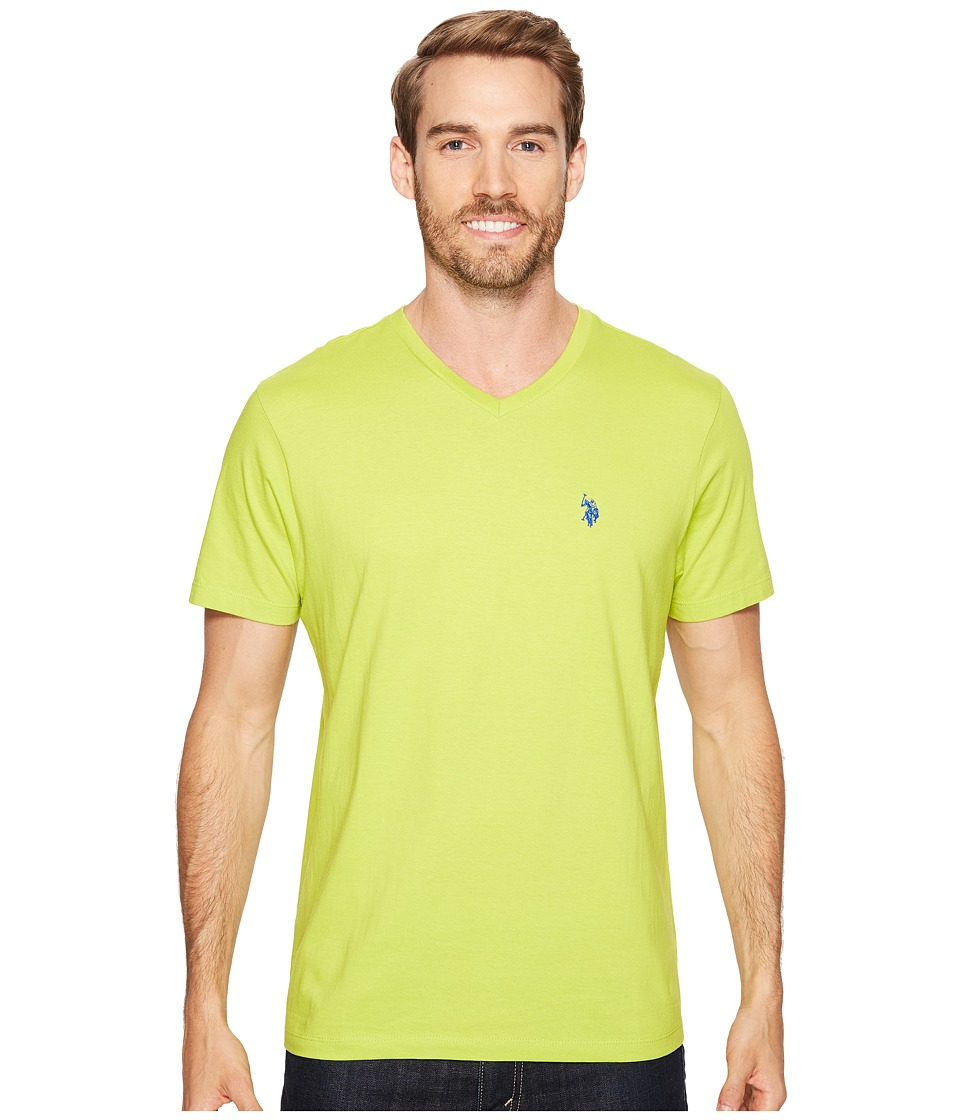 U.S. POLO ASSN. - Short Sleeve Solid V-Neck T-Shirt (Caf Lime) Men's Short Sleeve Pullover