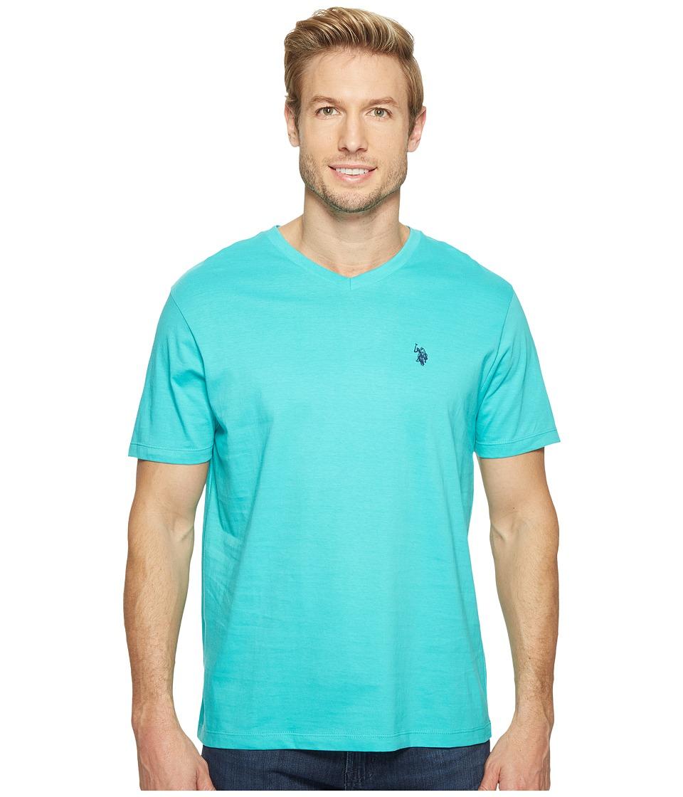 U.S. POLO ASSN. - Short Sleeve Solid V-Neck T-Shirt (Malibu Blue) Men's Short Sleeve Pullover