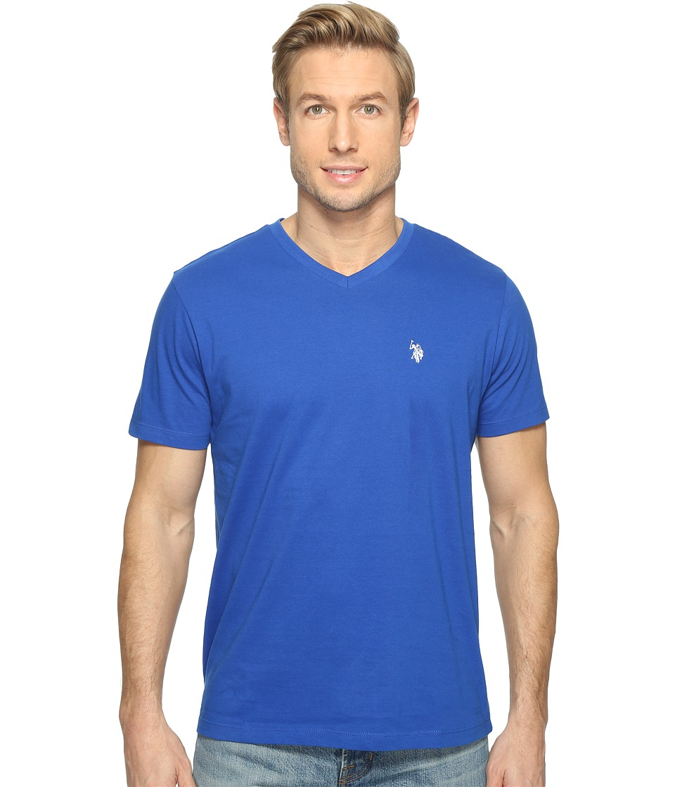 U.S. POLO ASSN. - Short Sleeve Solid V-Neck T-Shirt (Blue Raft) Men's Short Sleeve Pullover