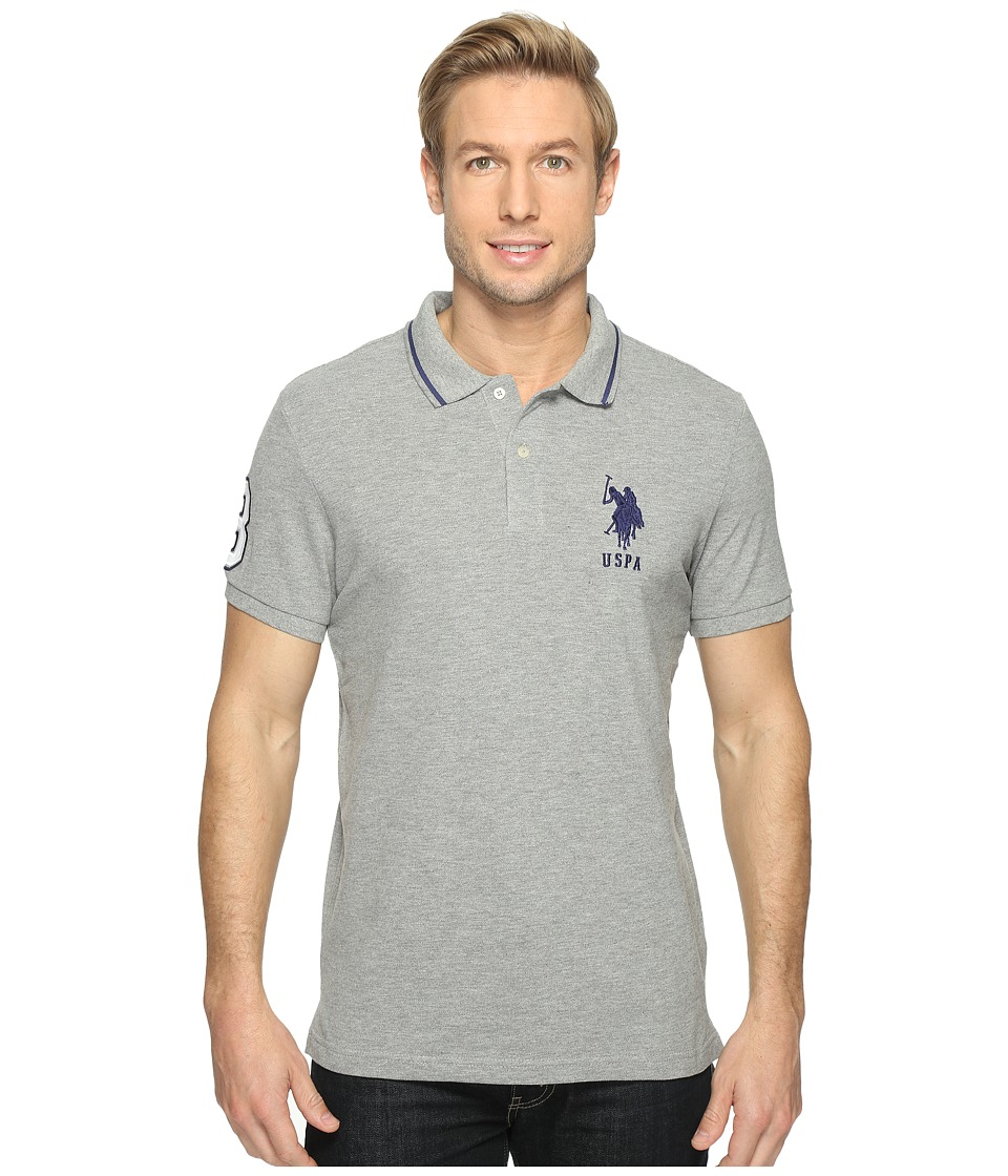U.S. POLO ASSN. - Slim Fit Short Sleeve Pique Polo Shirt (Heather Grey) Men's T Shirt