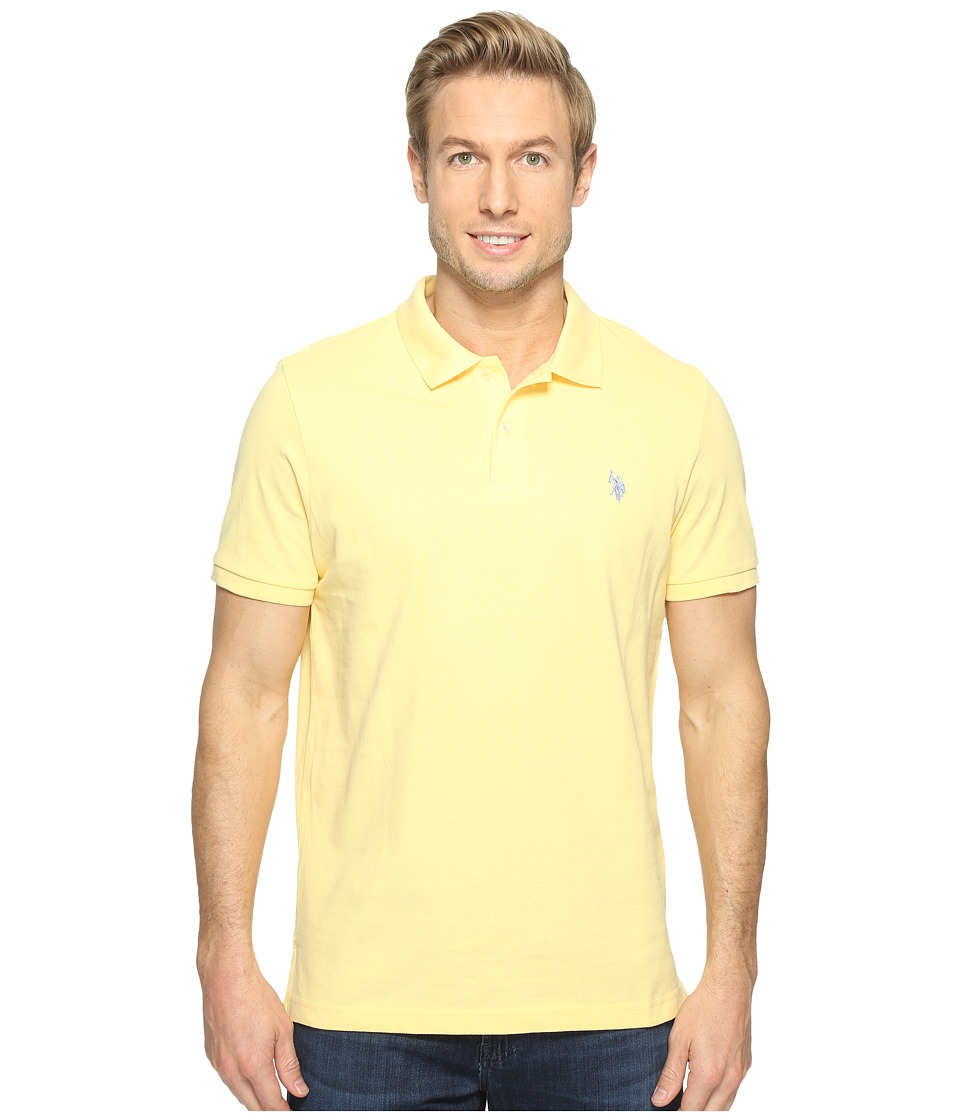 U.S. POLO ASSN. Solid Cotton Pique Polo with Small Pony Lemon Frost-Artist blue Mens Short Sleeve Knit