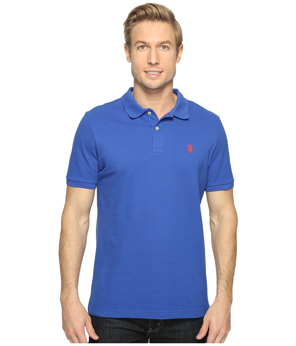 U.S. POLO ASSN. - Solid Cotton Pique Polo with Small Pony (Blue Raft/Crimson Fire) Men's Short Sleeve Knit
