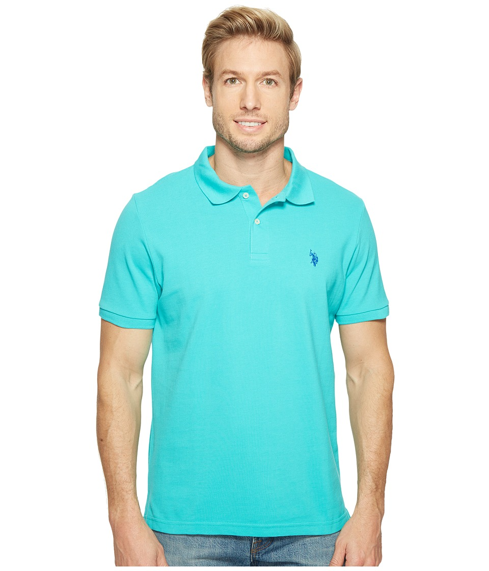 U.S. POLO ASSN. - Solid Cotton Pique Polo with Small Pony (Malibu Blue) Men's Short Sleeve Knit