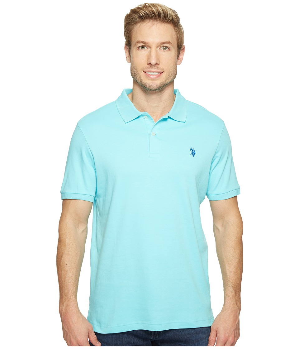 U.S. POLO ASSN. - Solid Interlock Polo (Painters Aqua) Men's Short Sleeve Knit
