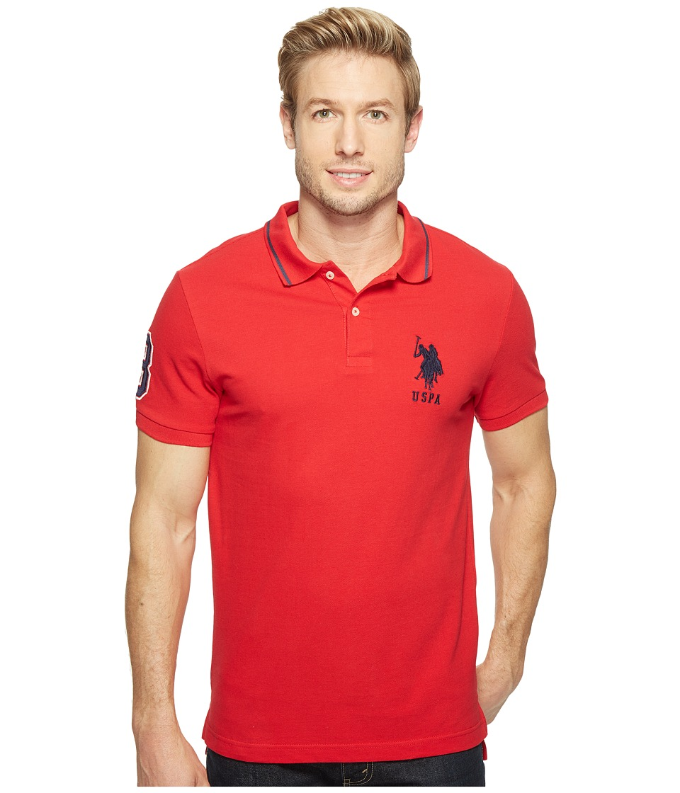 U.S. POLO ASSN. - Slim Fit Short Sleeve Pique Polo Shirt (Engine Red) Men's T Shirt