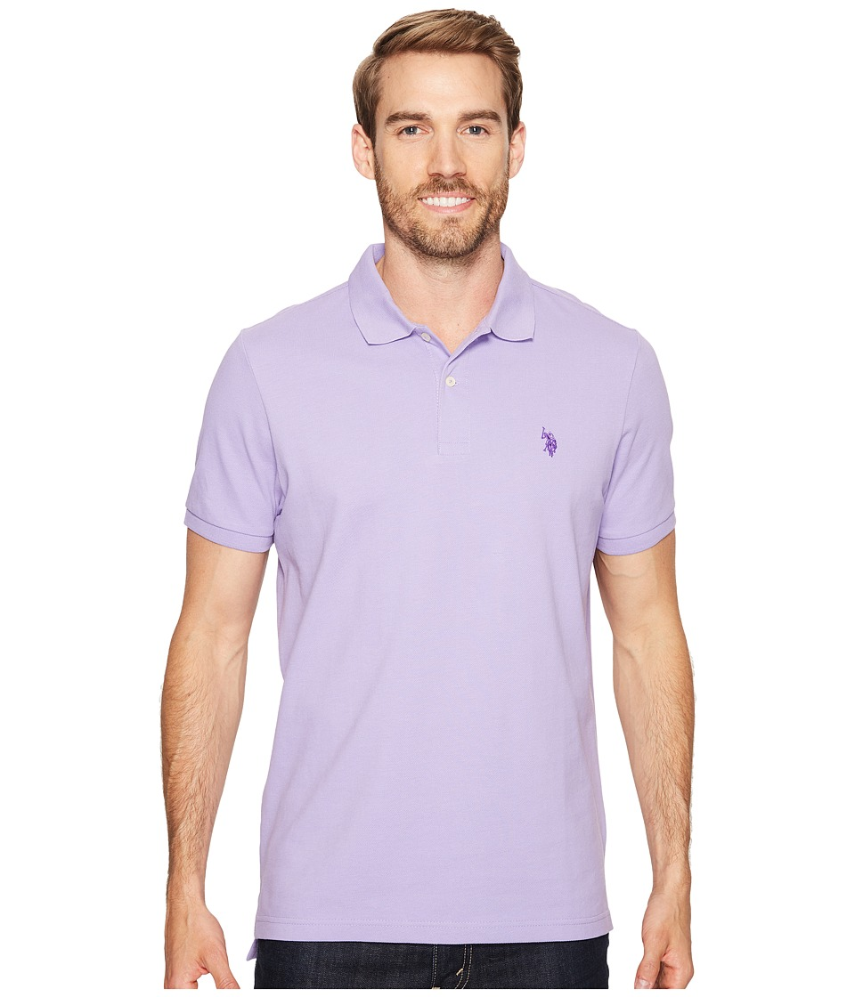 U.S. POLO ASSN. - Solid Cotton Pique Polo with Small Pony (Violet Sky) Men's Short Sleeve Knit