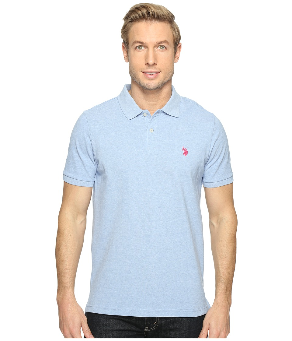 U.S. POLO ASSN. - Solid Cotton Pique Polo with Small Pony (Placid Blue Heather) Men's Short Sleeve Knit
