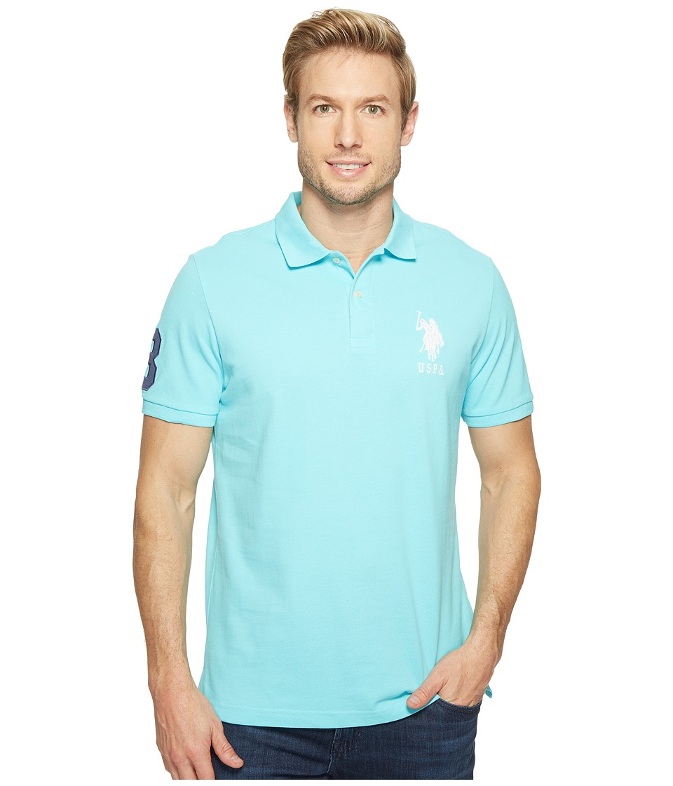 U.S. POLO ASSN. - Solid Pique Polo (Painters Aqua) Men's Short Sleeve Pullover