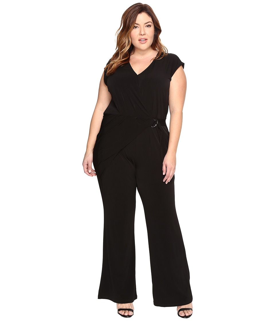 MICHAEL Michael Kors - Plus Size Wrap Front Jumpsuit (Black) Women's Jumpsuit & Rompers One Piece