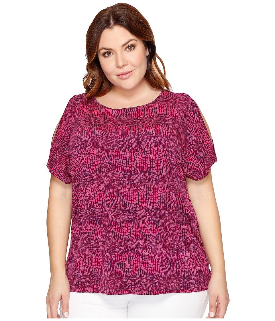 MICHAEL Michael Kors - Plus Size Zephyr Slit Sleeve Top (Electric Pink/True Navy) Women's Clothing