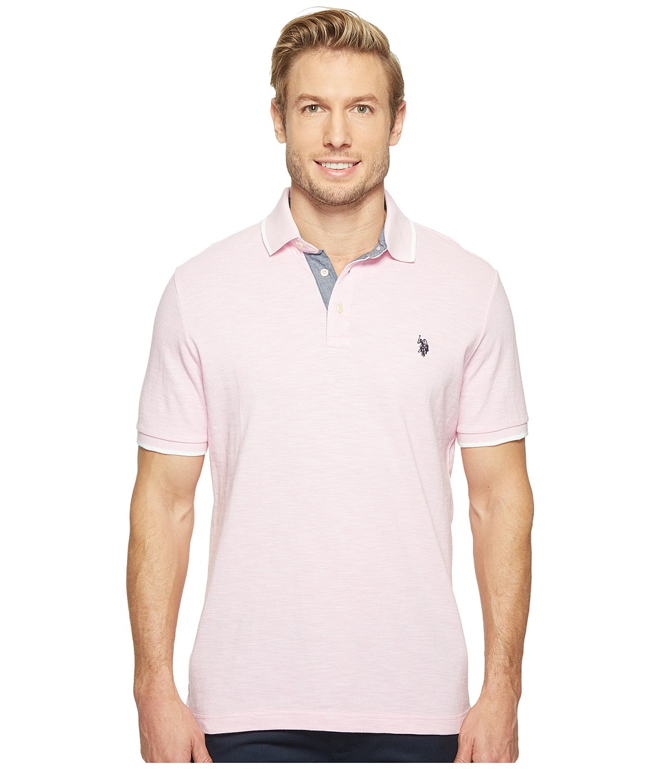 U.S. POLO ASSN. - Short Sleeve Solid Classic Fit Slub Polo Shirt (Mystic Pink) Men's T Shirt