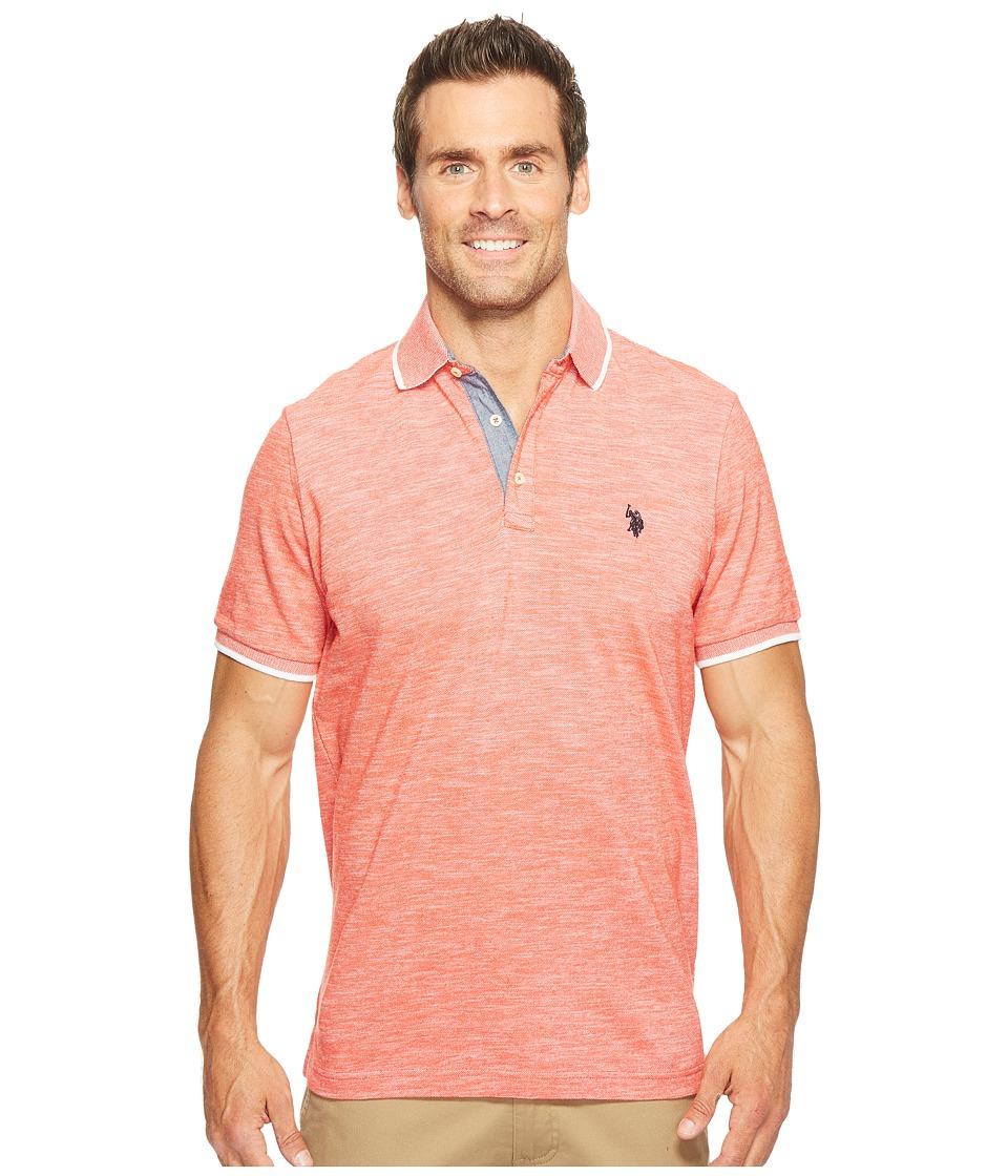 U.S. POLO ASSN. - Short Sleeve Solid Classic Fit Slub Polo Shirt (Crimson Fire) Men's T Shirt