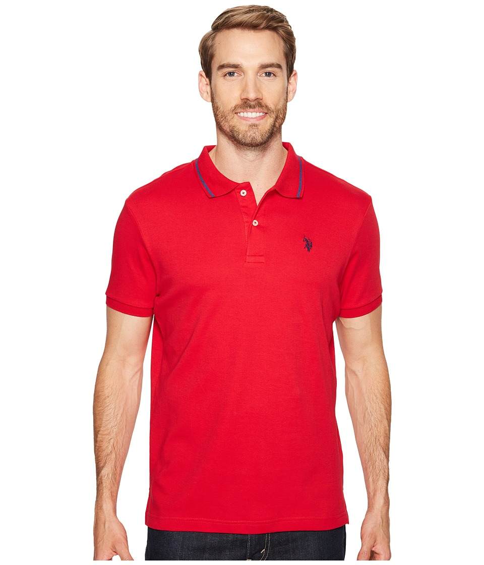 U.S. POLO ASSN. - Slim Fit Short Sleeve Solid Interlock Polo Shirt (Winning Red) Men's T Shirt