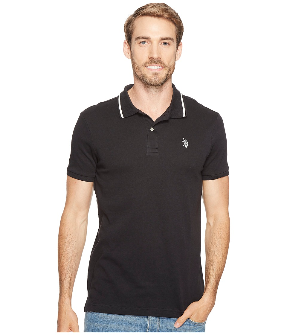 U.S. POLO ASSN. - Slim Fit Short Sleeve Solid Interlock Polo Shirt (Black) Men's T Shirt