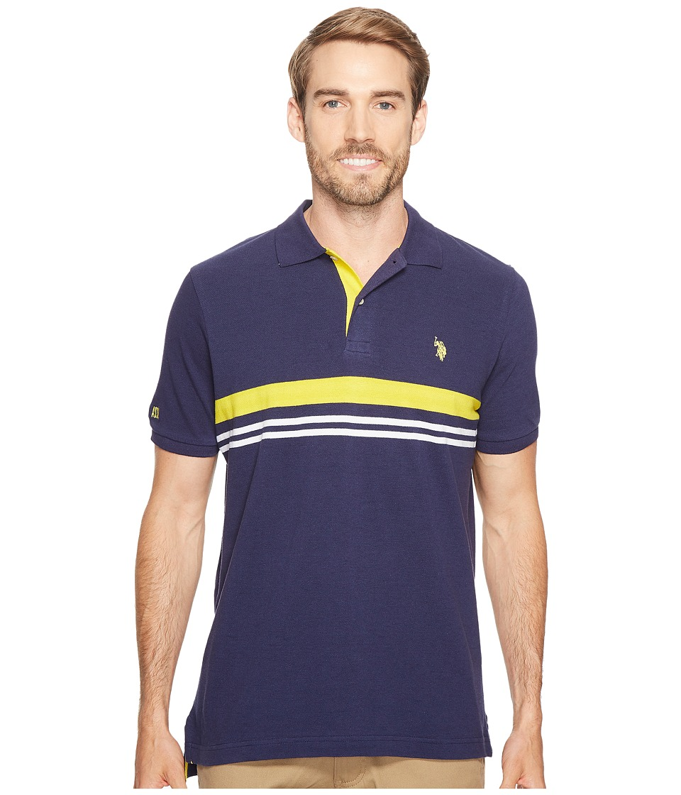 U.S. POLO ASSN. - Striped Classic Fit Short Sleeve Pique Polo Shirt (Classic Navy) Men's T Shirt