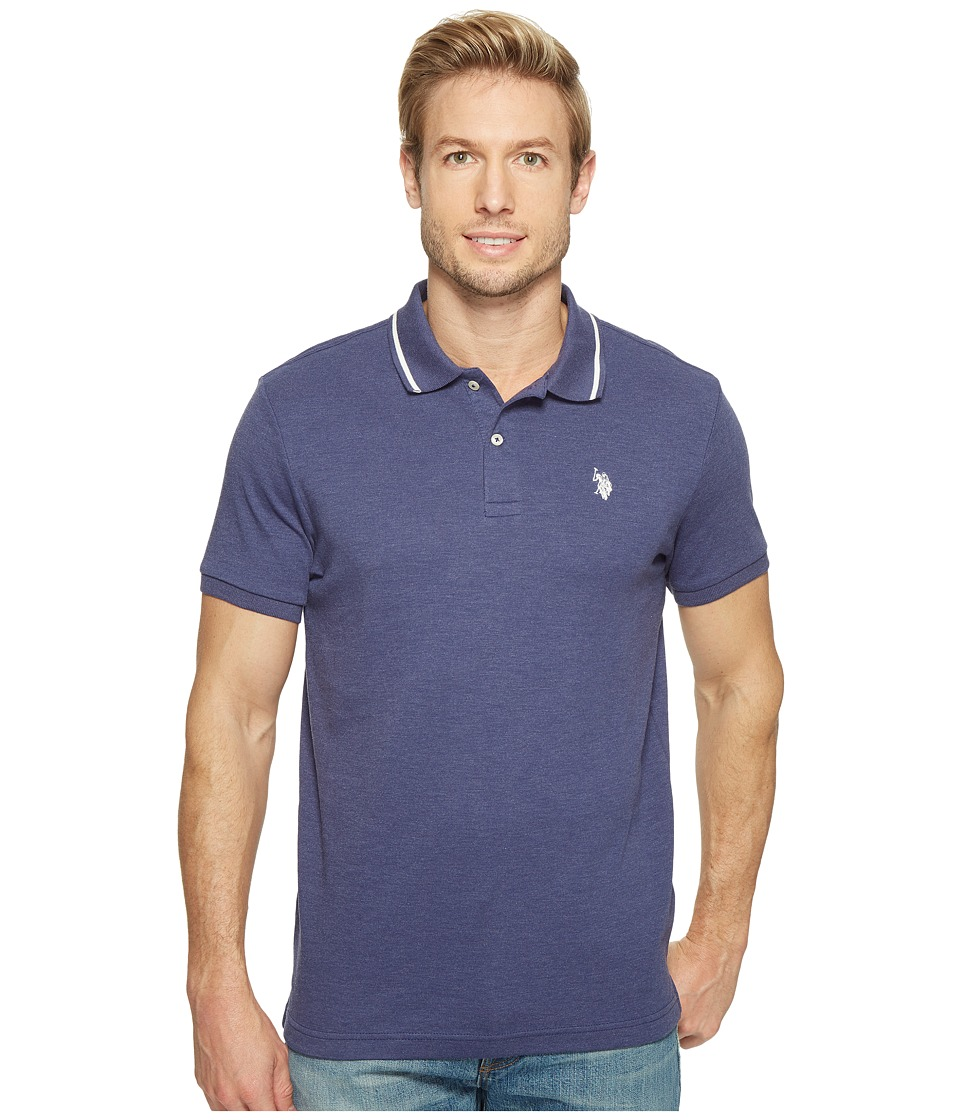 U.S. POLO ASSN. - Slim Fit Short Sleeve Solid Interlock Polo Shirt (Dodger Blue Heather) Men's T Shirt
