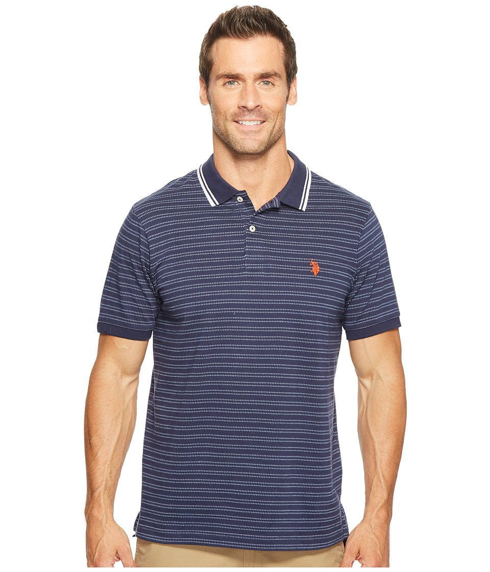 U.S. POLO ASSN. - Slim Fit Short Sleeve Printed Jersey Polo Shirt (Classic Navy) Men's T Shirt
