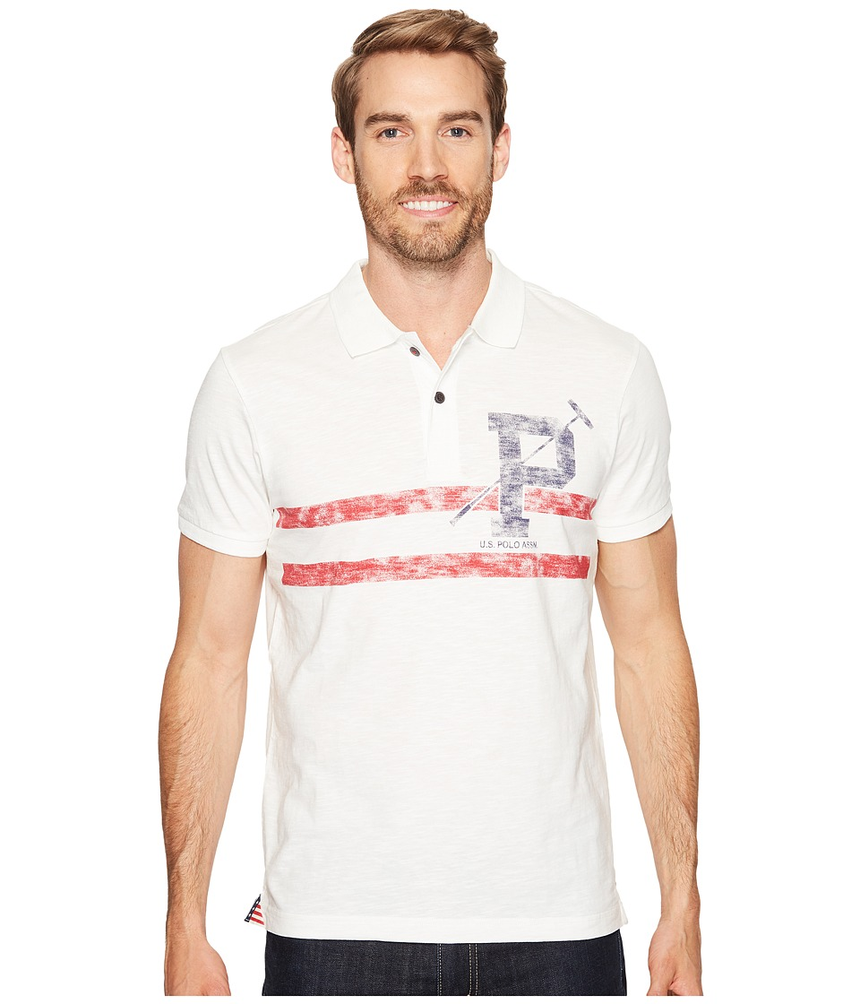 U.S. POLO ASSN. - Slim Fit Striped Short Sleeve Slub Polo Shirt (White Winter) Men's T Shirt