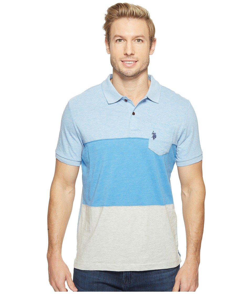 U.S. POLO ASSN. - Striped Short Sleeve Classic Fit Slub Polo Shirt (Placid Blue Heather) Men's T Shirt