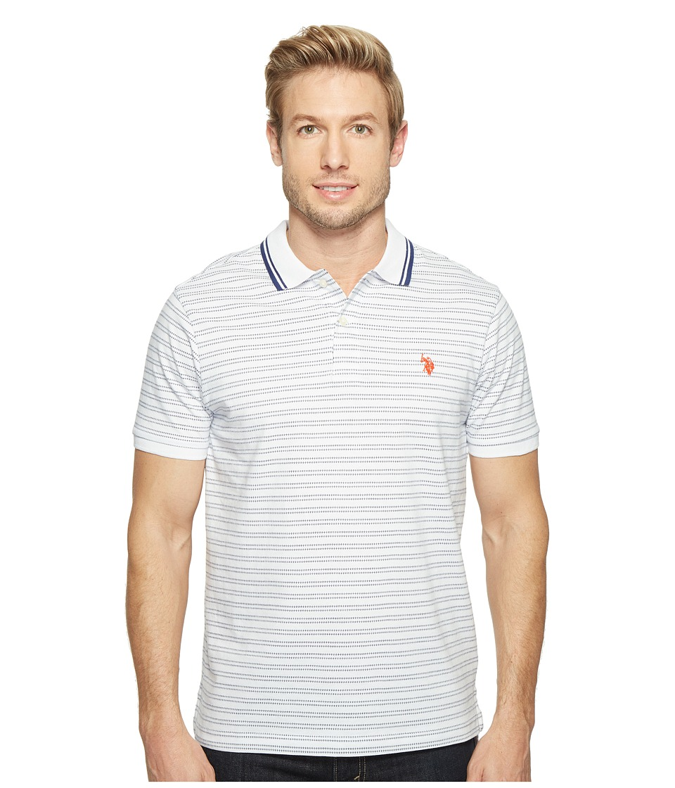 U.S. POLO ASSN. - Slim Fit Short Sleeve Printed Jersey Polo Shirt (White) Men's T Shirt